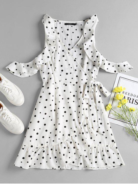 فستان قصير بنمط كشكش من بولكا دوت - أبيض L