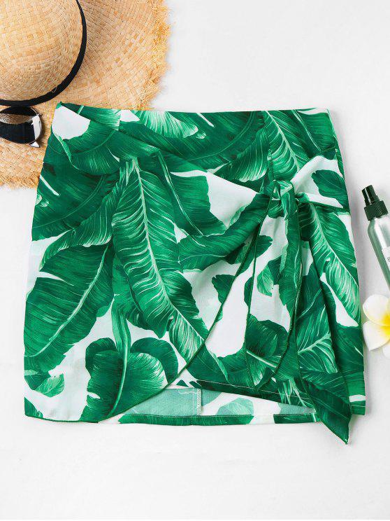 unique Front Tie Tropical Leaf Skirt - GREEN L