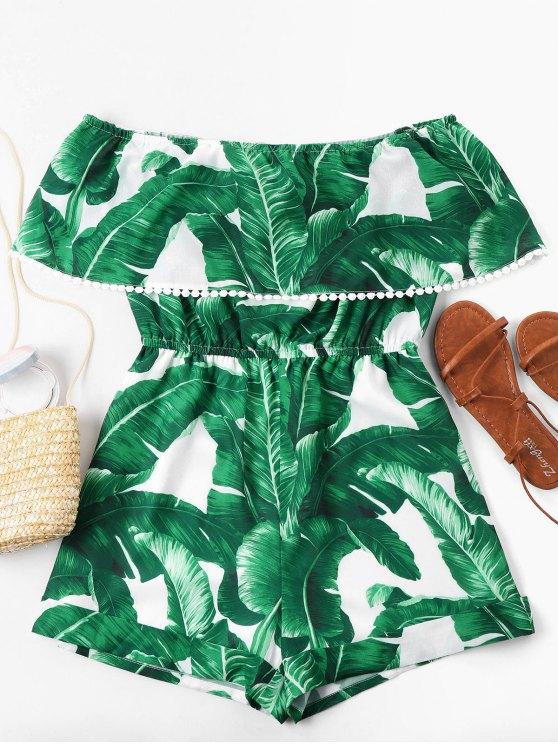 Combishort à Feuille Tropicale à épaules Dénudées - Vert S