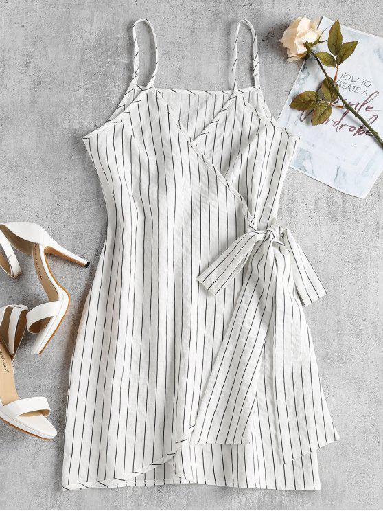 Mini vestido de deslizamento de envoltório listrado - Branco S
