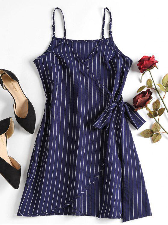 new Mini Striped Wrap Slip Dress - DEEP BLUE S