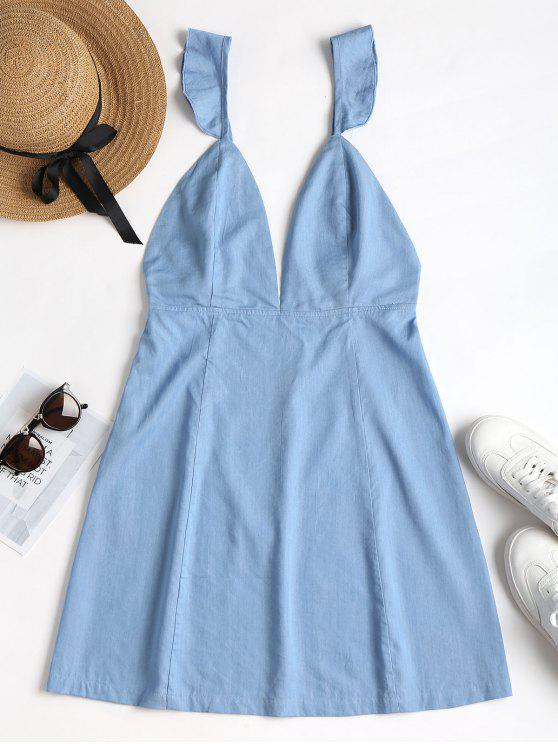 Mergulhando Neck Backless Dress - Azul Denim L