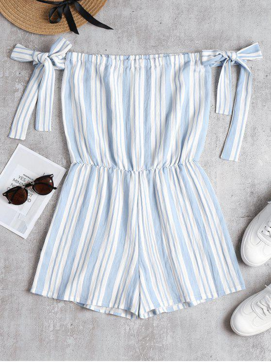 womens Knotted Sleeves Striped Romper - SKY BLUE L