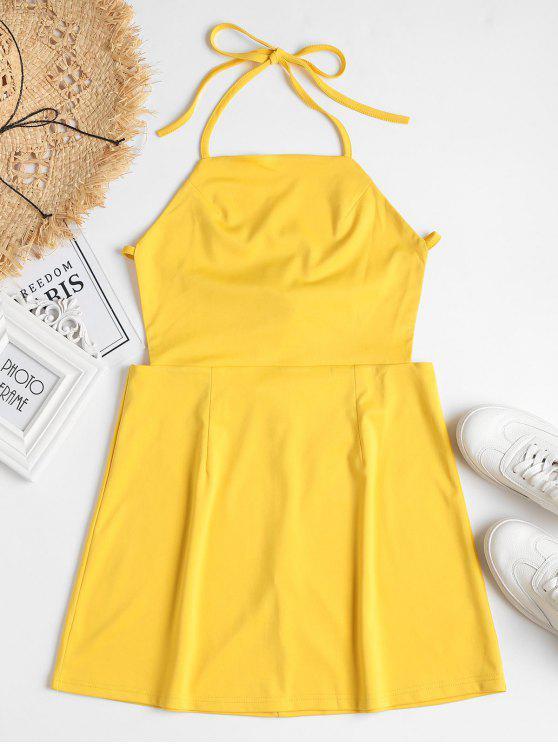 buy Back Zipper Open Back Mini Dress - RUBBER DUCKY YELLOW L