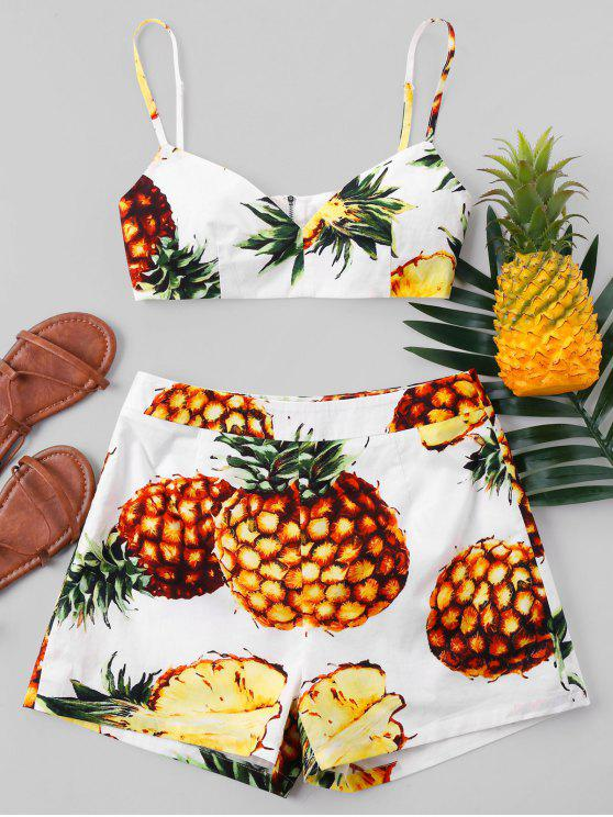 outfit Pineapple Crop Cami and Shorts Set - MULTI-A XL