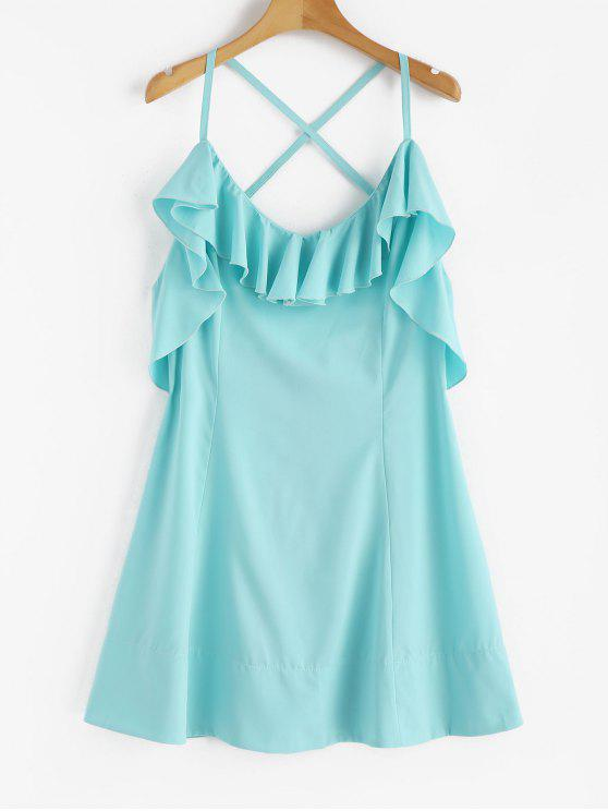 chic Criss Cross Back Ruffle Mini Dress - BLUE LAGOON S