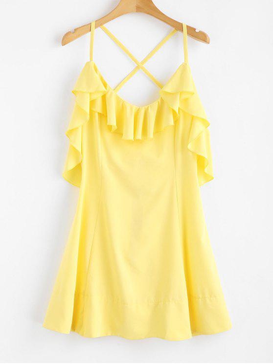 buy Criss Cross Back Ruffle Mini Dress - CORN YELLOW M