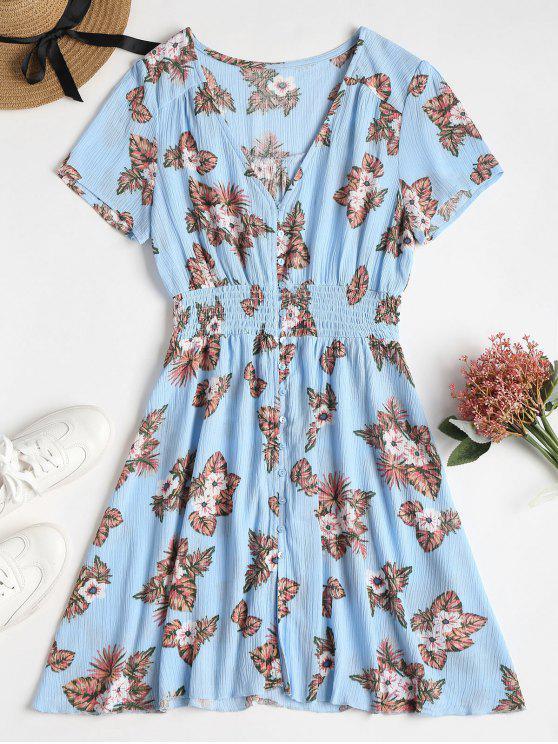 best Button Through Printed Tea Dress - LIGHT SKY BLUE M