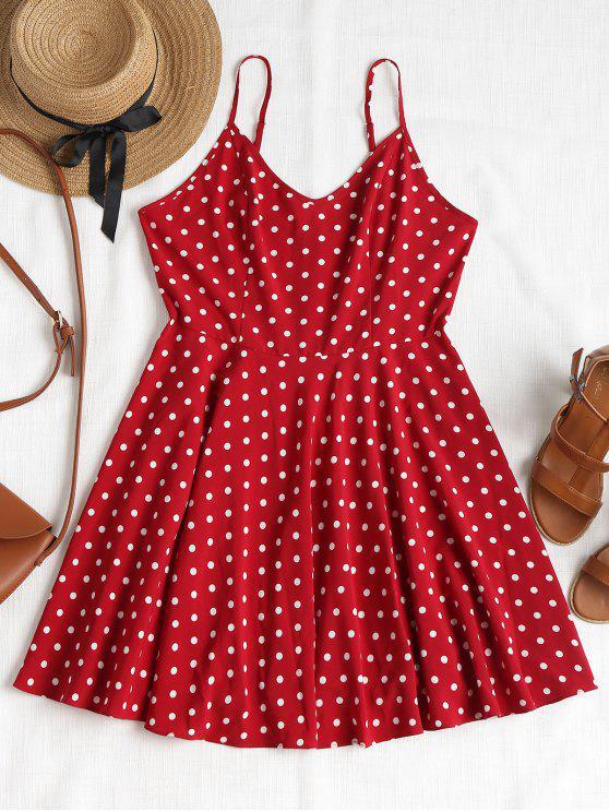 best Polka Dot Spaghetti Strap Dress - RED WINE L