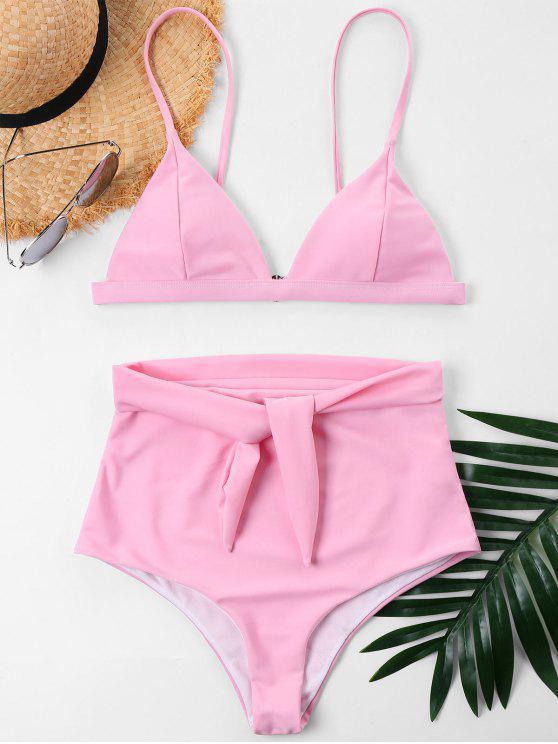 trendy Tie Front High Rise Bikini - LIGHT PINK S