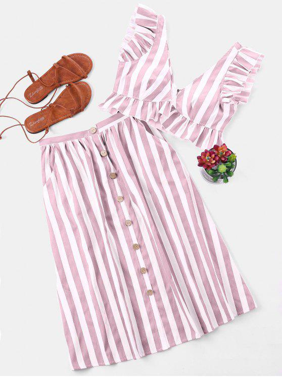 1bd984993008e 26% OFF  2019 Striped Crop Top And Skirt Set In LIGHT PINK S