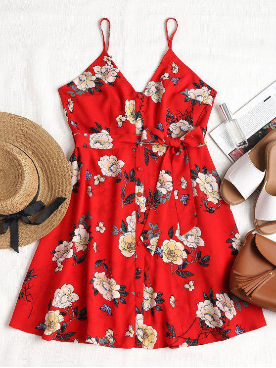 hot Floral Print Belted Slip Dress - LAVA RED M