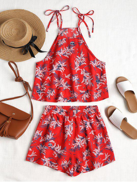 hot Floral Print Cami Shorts Set - LOVE RED M