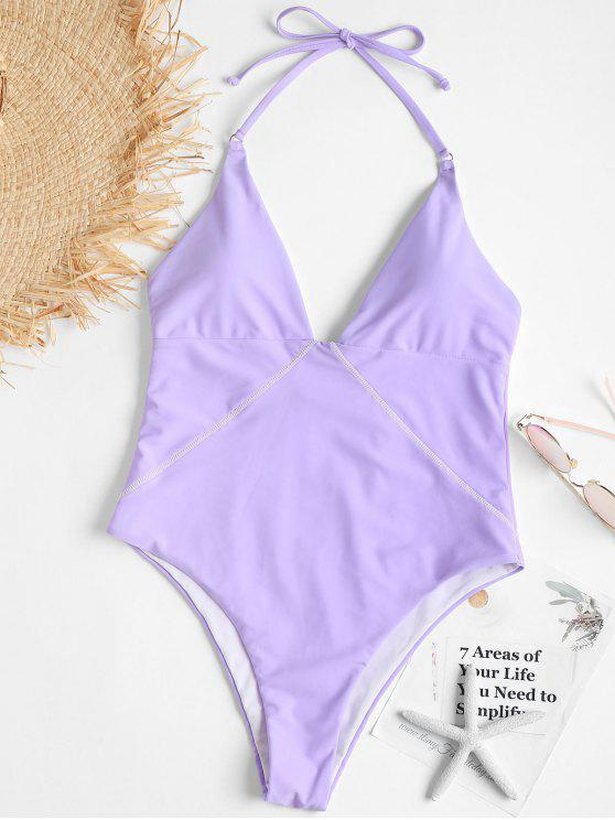 ladies Backless One Piece High Leg Swimsuit - MAUVE L