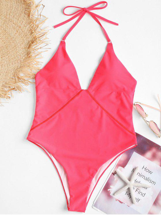 online Backless One Piece High Leg Swimsuit - DEEP PINK L
