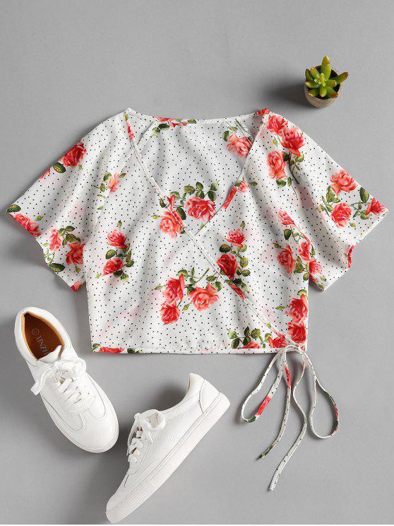 Blusa de estampa floral pontilhada - Branco L