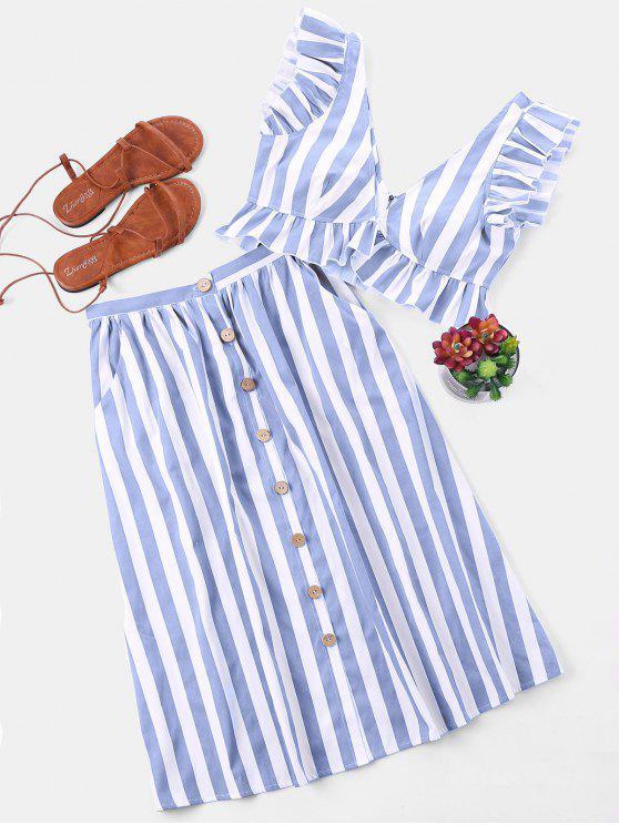 women Striped Crop Top and Skirt Set - LIGHT BLUE M