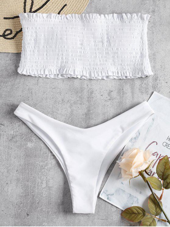 online Smocked Bandeau Bikini Set - WHITE L