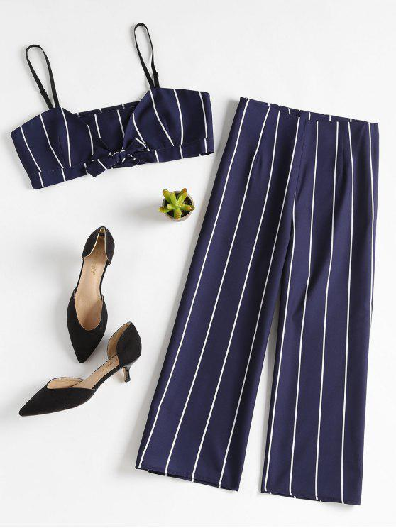 Conjunto a juego Stripe Crop Top y Culottes - Azul Profundo L