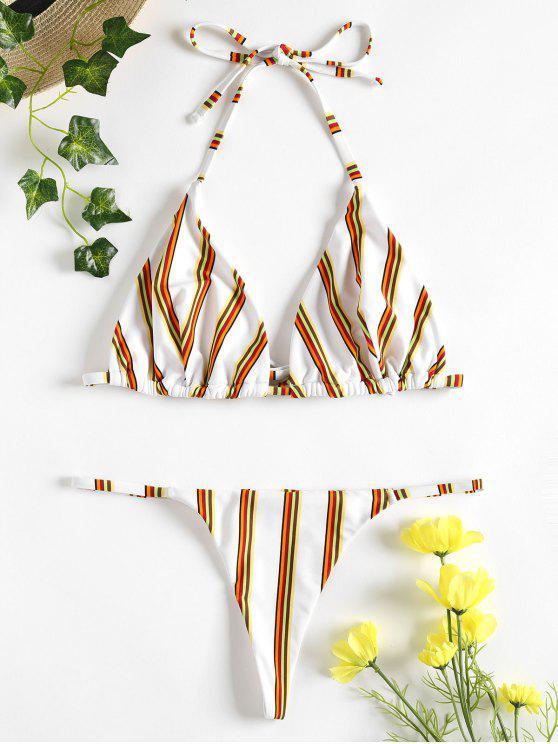 Gestreifter Tanga Bikini - Weiß S