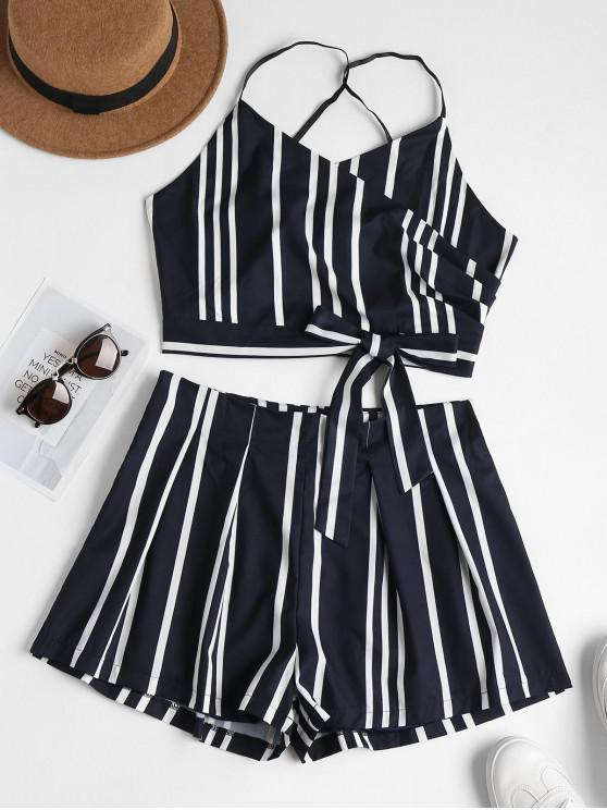hot Striped Bowknot Cami Top and Shorts Set - DARK SLATE BLUE M