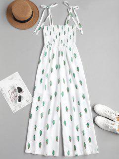 Cactus Graphic Maxi Slip Jumpsuit - White M