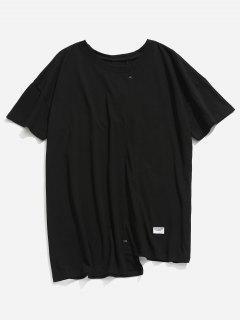 Asymmetrical Hem Casual Tee - Black Xl