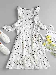Polka Dot Ruffles Mini Wrap Dress - White L