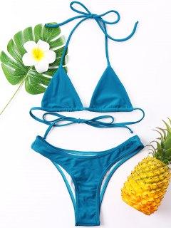 Halter Cheeky Bikini Set - Blue L