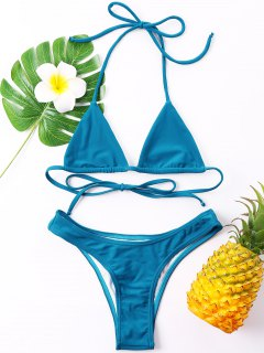 Halter Cheeky Bikini Set - Blue Xl