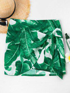 Front Tie Tropical Leaf Skirt - Green S