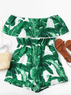 Off Shoulder Tropical Leaf Romper - Green S