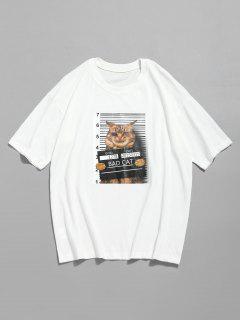 3D Cat Print Casual Tee - White 2xl