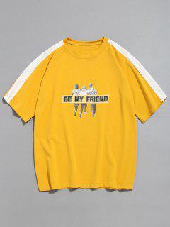 Camiseta De Manga Raglán Con Diseño De Contraste - Mostaza M