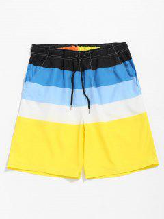 Drawstring Color Block Casual Shorts - Yellow 2xl