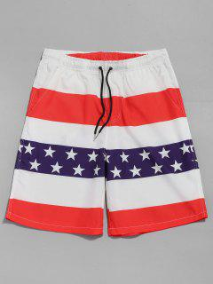 Drawstring American Flag Shorts - Red M