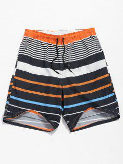 Drawstring Striped Beach Shorts - Dark Orange L