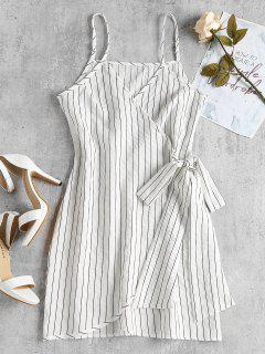 Mini Striped Wrap Slip Dress - White L