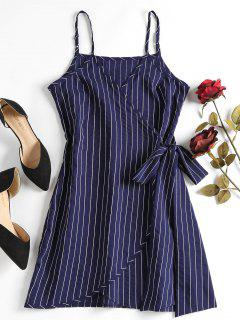 Mini Striped Wrap Slip Dress - Deep Blue L