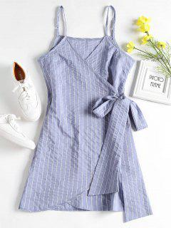 Mini Striped Wrap Slip Dress - Denim Blue M