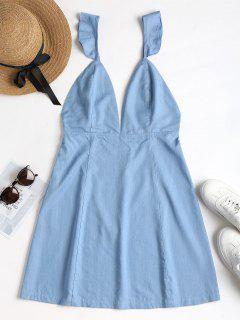 Plunging Neck Backless Dress - Denim Blue M