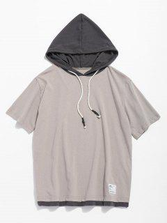 Hooded Drawstring Short Sleeve Tee - Light Khaki L