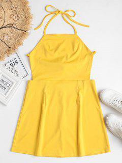 Back Zipper Open Back Mini Dress - Rubber Ducky Yellow S