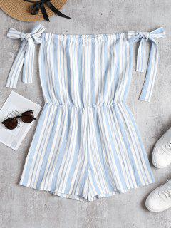 Knotted Sleeves Striped Romper - Sky Blue M
