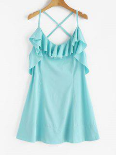 Criss Cross Back Ruffle Mini Dress - Blue Lagoon M