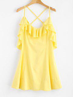 Criss Cross Back Ruffle Mini Dress - Corn Yellow L