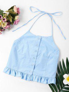 Ruffle Button Up Halter Crop Top - Light Blue L