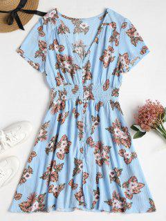 Button Through Printed Tea Dress - Light Sky Blue L