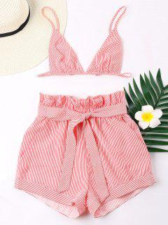Stripes Bra And Wide Leg Shorts Set - Red L