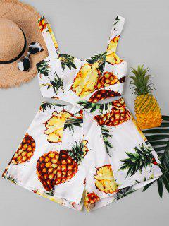 Pineapple Print Holiday Romper - White S